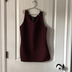 Ann Taylor maroon ruched shell.